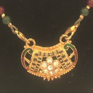 Indian , gold , red, green beaded necklace
